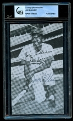 Jim Gilliam Autographed Postcard  (Los Angeles Dodgers)