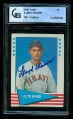 Lloyd Waner Autographed Card (Pittsburg Pirates)