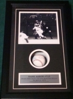 Hank Aaron- Autographed Baseball in Shadow Box (Milwaukee Brewers)