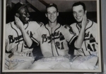 Hank Aaron / Warren Spahn / Eddie Mathews Signed 8x10 Autographed 8x10-GAI (Milwaukee Braves)