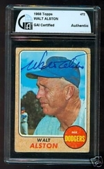 Walt Alston Autographed Card (Los Angeles Dodgers)