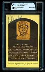 Carl Hubbell HOF Auto Postcard (New York Giants)