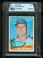 Don Drysdale Autographed Card (Los Angeles Dodgers)