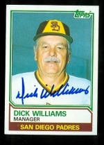 Dick Williams Autographed Card (San Diego Padres)