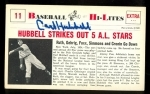 Carl Hubbell Autographed Card (New York Giants)