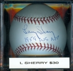 Autographed Baseball Larry Sherry Tri-Star (Los Angeles Dodgers)
