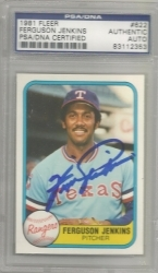 Fergie Jenkins Autographed Card (Texas Rangers)